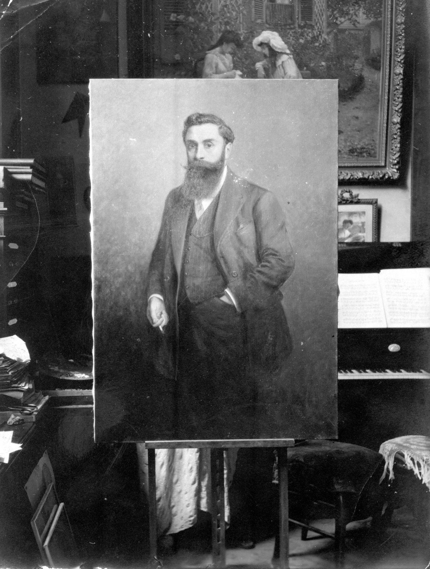 Reproduction d'une peinture d'Alexandre Varenne sur son chevalet