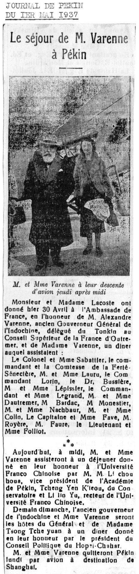 Journal de Pékin du 01 Mai 1937