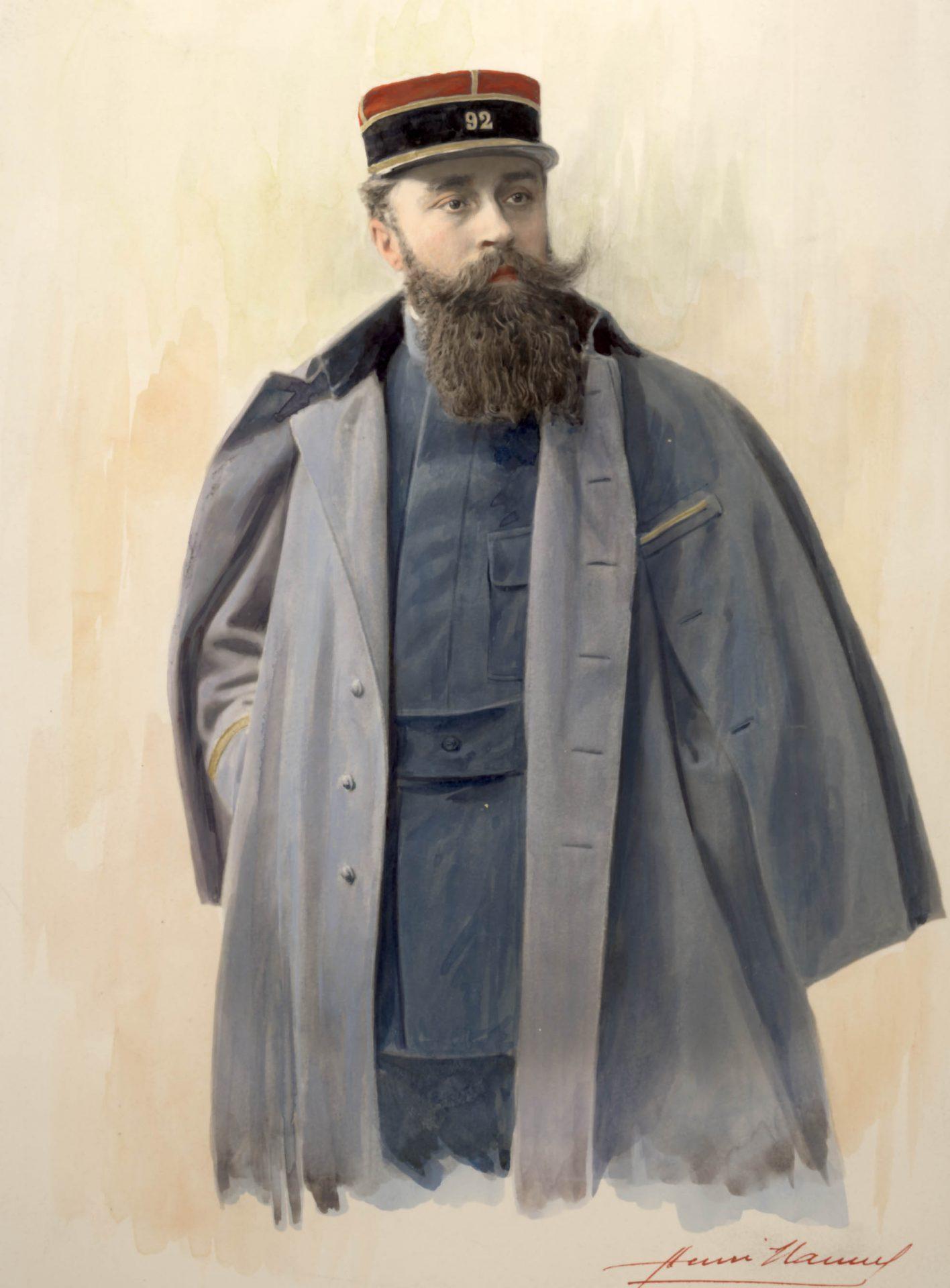 Dessin colorisé d'après photo, par Henri Manuel, de Varenne en costume militaire avec un 92 sur le képi. Remarque: à vue de son carnet militaire, il n'en a jamais fait partie.