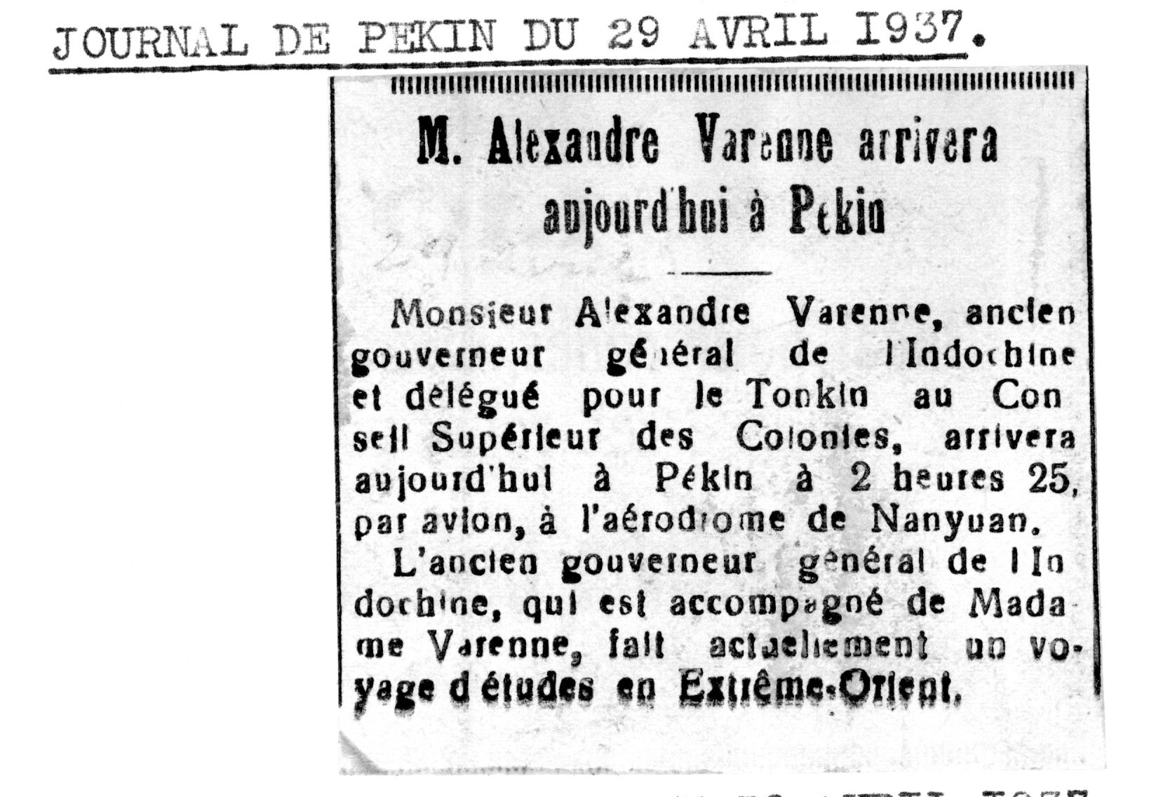 Journal de Pékin du 29 Avril 1937