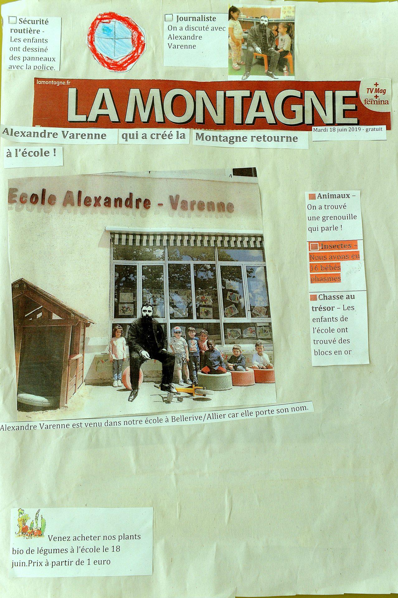 Le Journal réalisé par les enfants sur  la vie d'Alexandre Varenne réalisé par les élèves de l'école Alexandre Varenne à Bellerive-sur-Alllier.