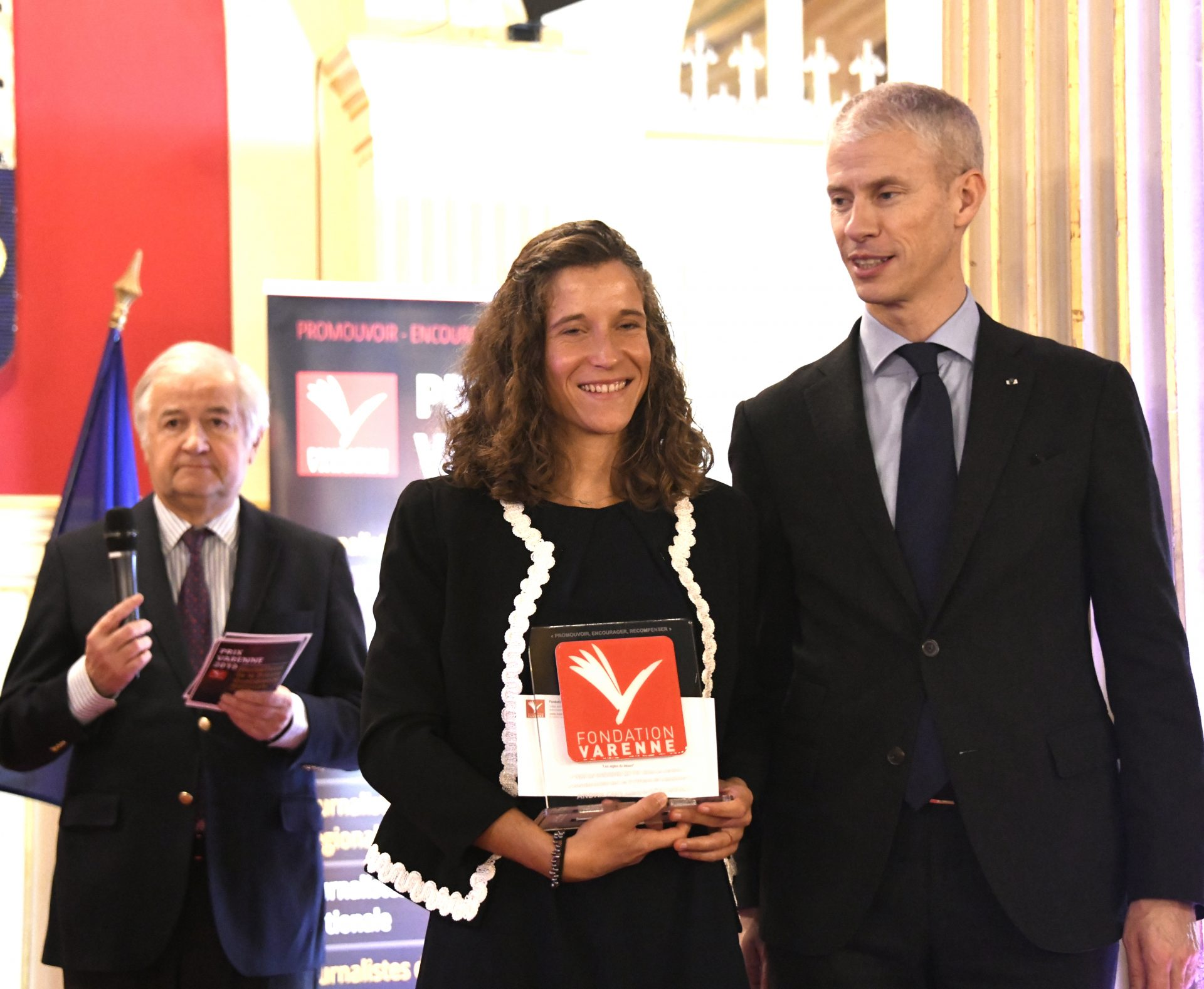 Laure Andrillon (Néon) Prix jeune journaliste presse Magazine et Franck Riester.