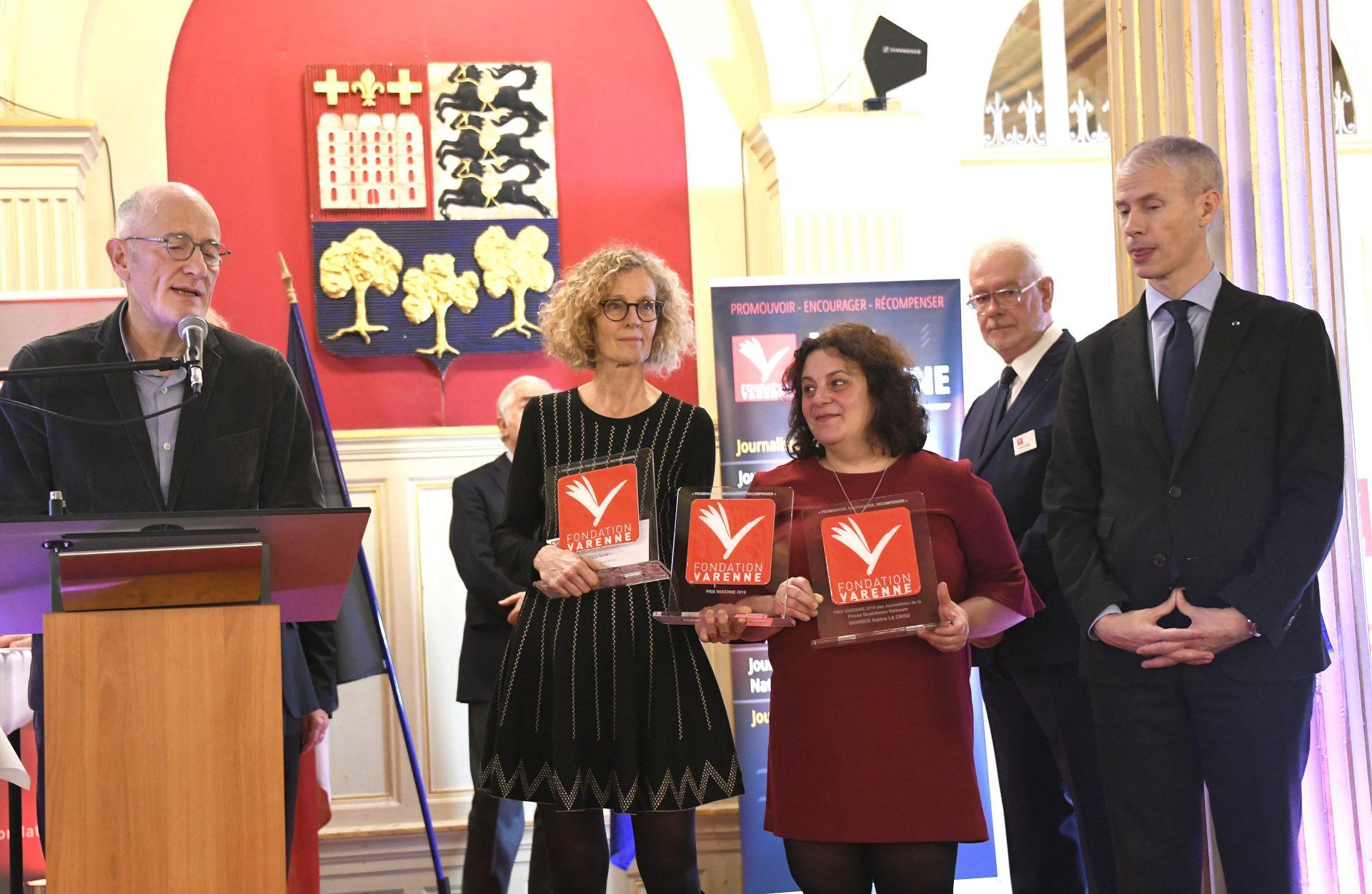 Grand Prix Varenne journaliste de la PQN à Sabine GIGNOUX, Nathalie BIRCHEM et TITWANE (La Croix)